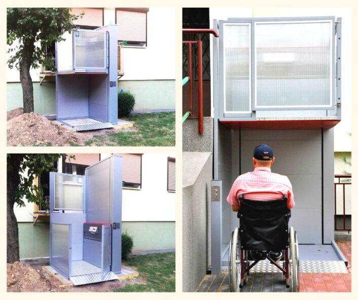 wysoki podnośnik pionowy zamiast windy dla niepełnosprawnych